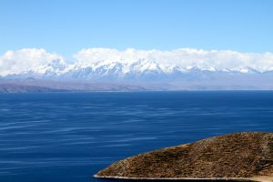 Snow-covered mountains across Lake Titicaca
